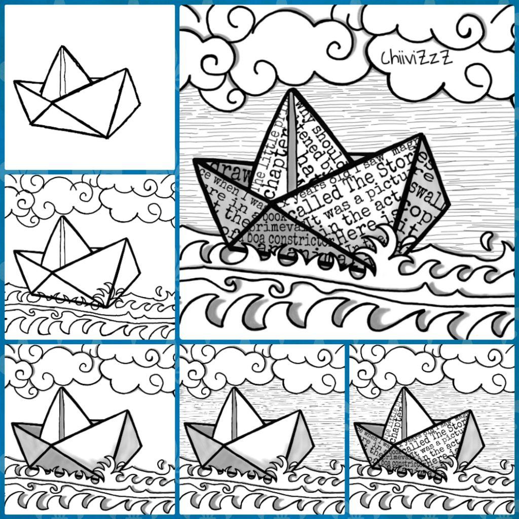 How to draw a paper ship c mo dibujar un bar picsart for Papel para dibujar