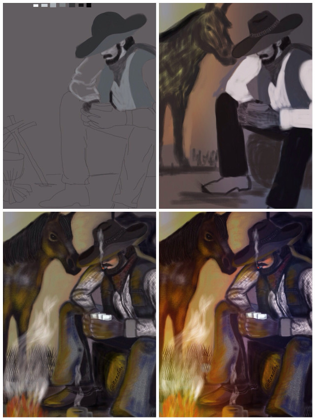 """Drawing progression of """"my cowboy"""". Pls. Vote in the contest. Tnks!"""