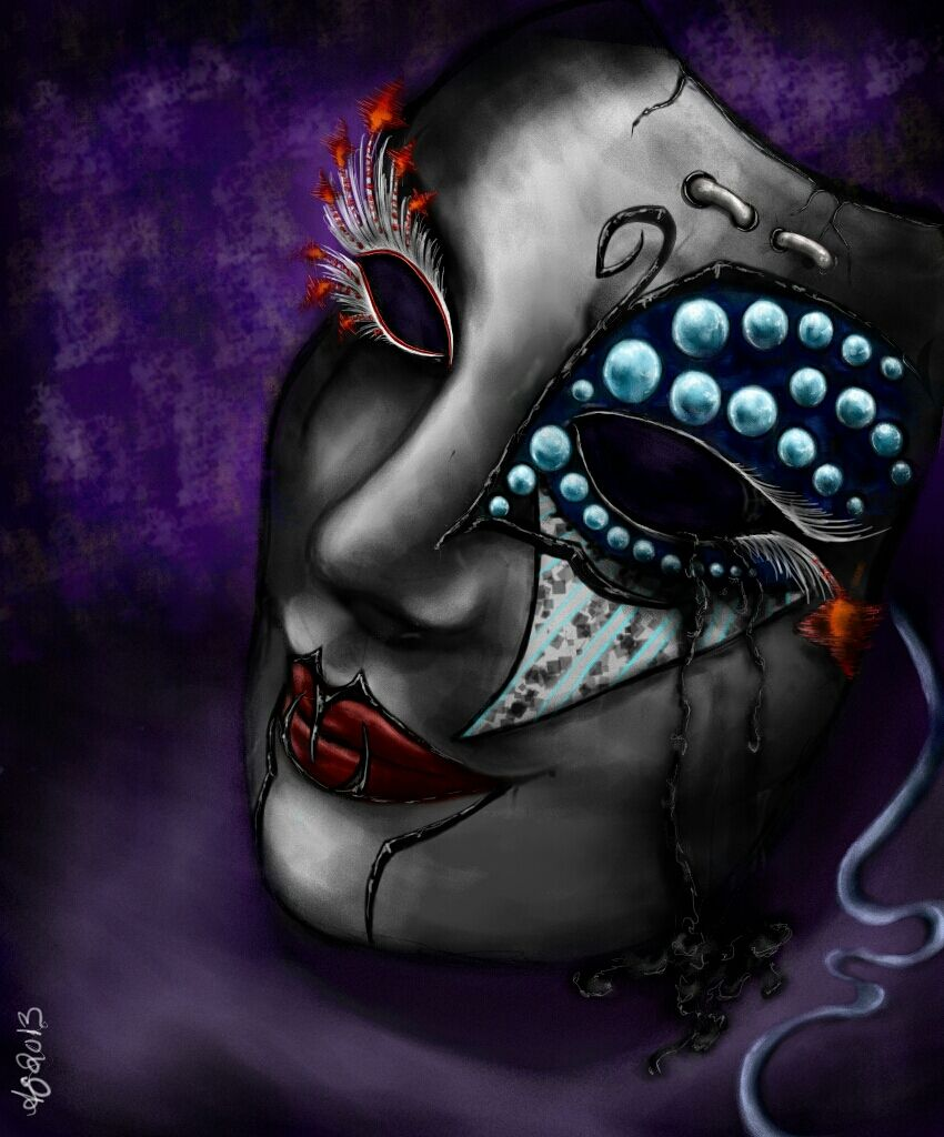 this mask represents sadness & happiness along w/silence. vote if u like it.
