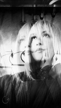 black & white holga hdr selfie