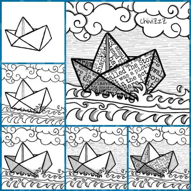 How to draw a paper ship. Cómo dibujar un barquito de papel. :)