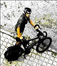 color splash bicycle friend street photography goodbye