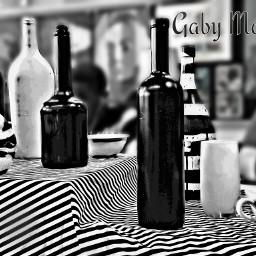 photography still life black & white bottles retro