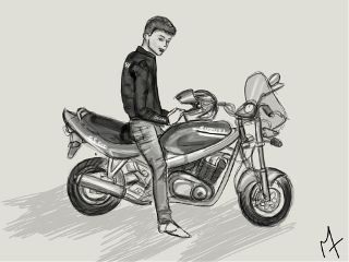 draw black & white bike moto