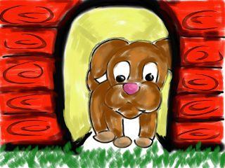 dog dog house cartoon drawing