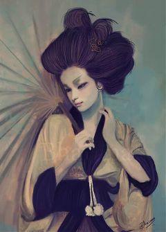 color splash girl people geisha emotions